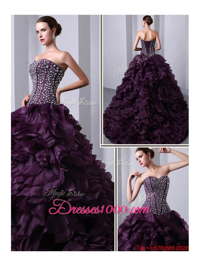 Fashionable Sweetheart Beading and Ruffles Quinceanea Dresses with Brush Train