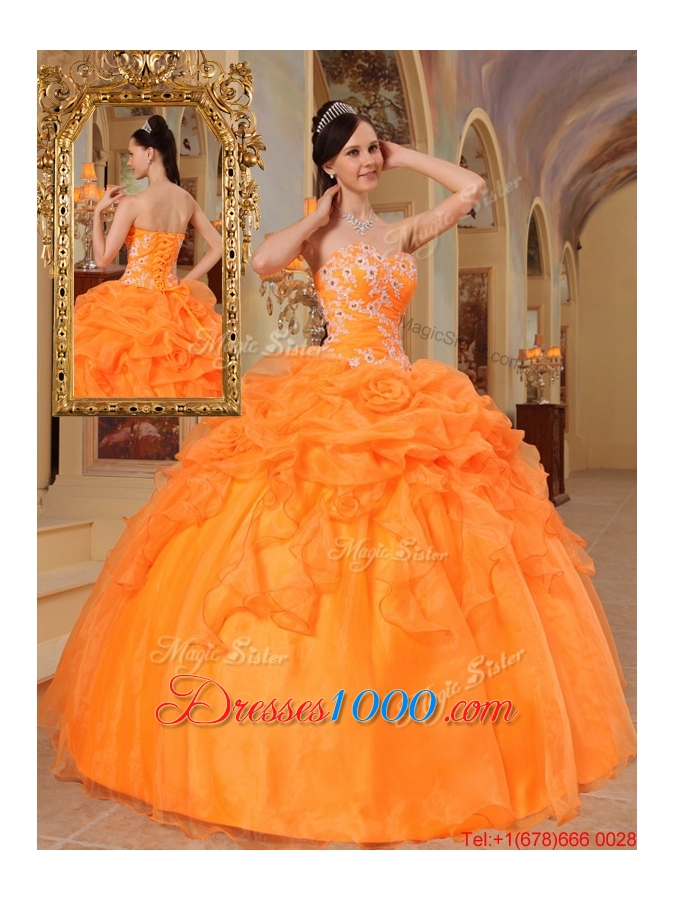 New Style Orange Red Ball Gown Sweetheart Quinceanera Dresses