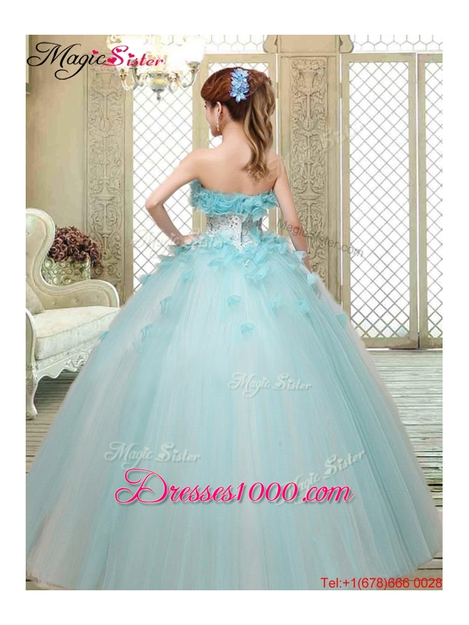 2016 Beautiful Strapless Quinceanera Dresses with Appliques and Ruffles
