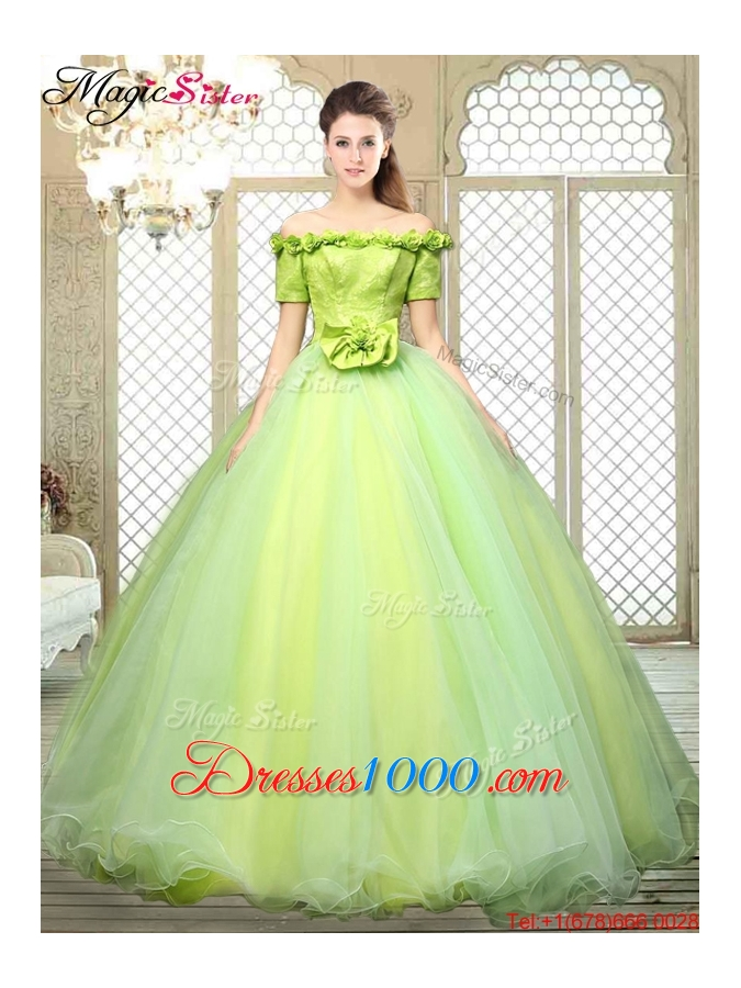 2016 Off the Shoulder Quinceanera Dresses with Hand Made Flowers