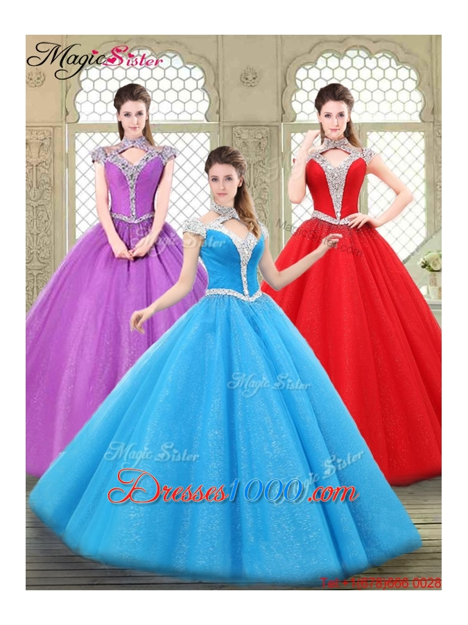 Discount Halter Top Quinceanera Gowns with Beading