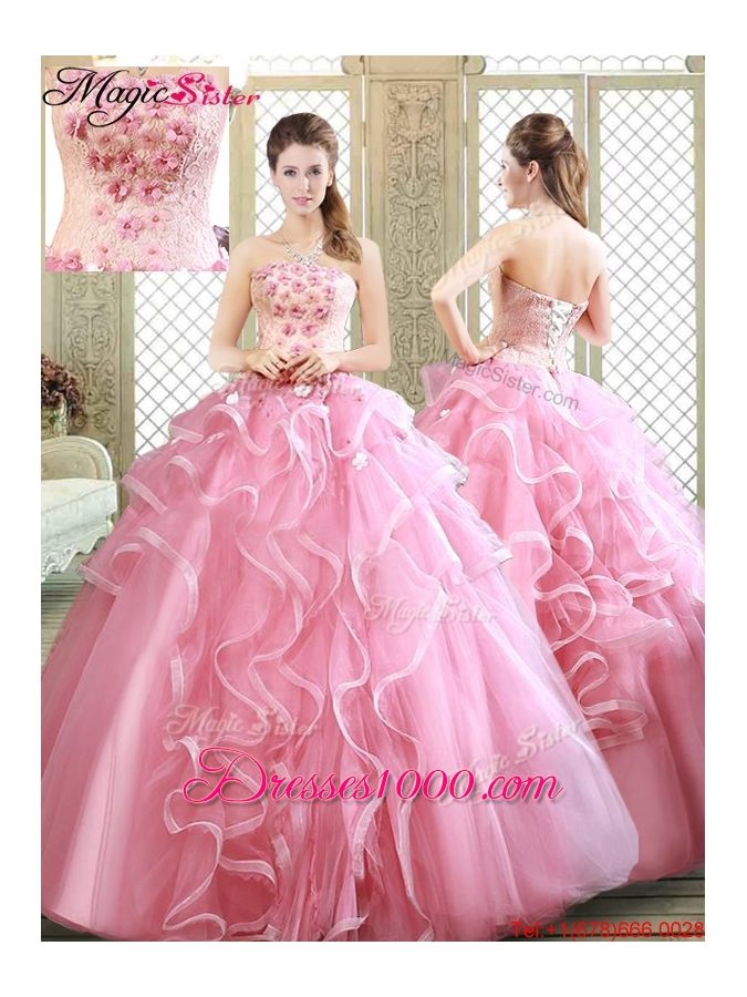Lovely Strapless Discount Quinceanera Dresses with  Appliques and Ruffles