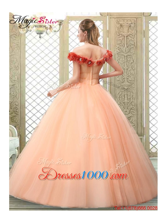 Pretty Off the Shoulder Discount Quinceanera Dresses with Hand Made Flowers