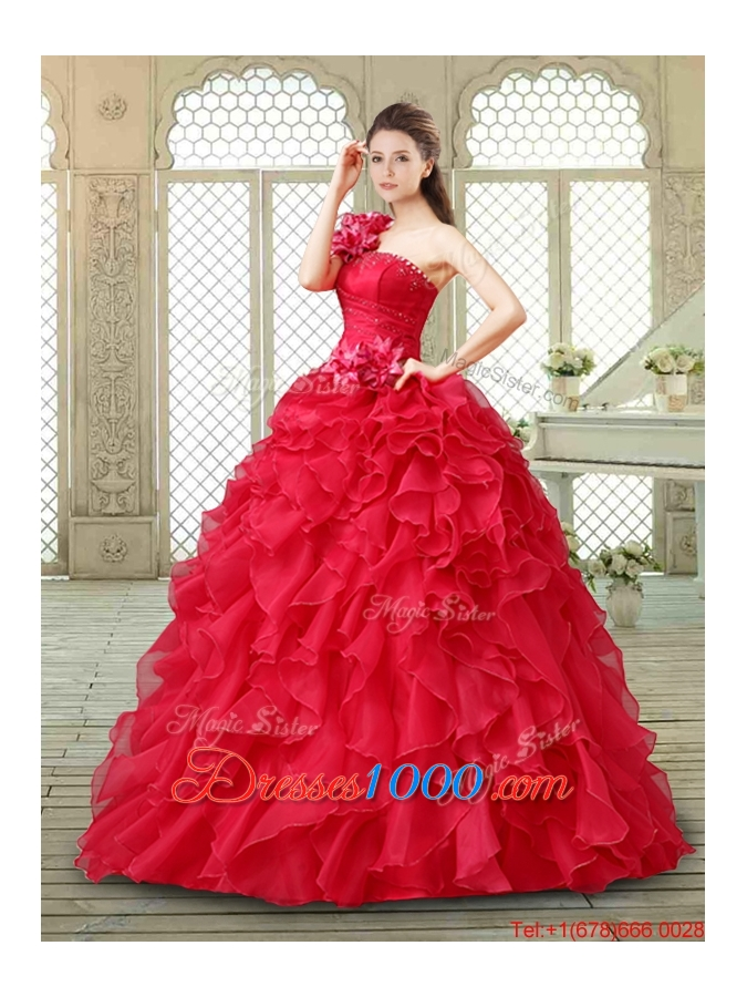 Beautiful One Shoulder Ruffles Quinceanera Gowns in Red