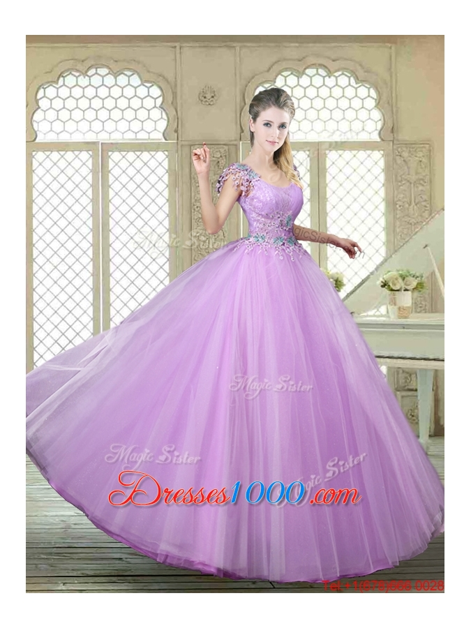 Fashionable Ball Gown Scoop Quinceanera Gowns with Appliques
