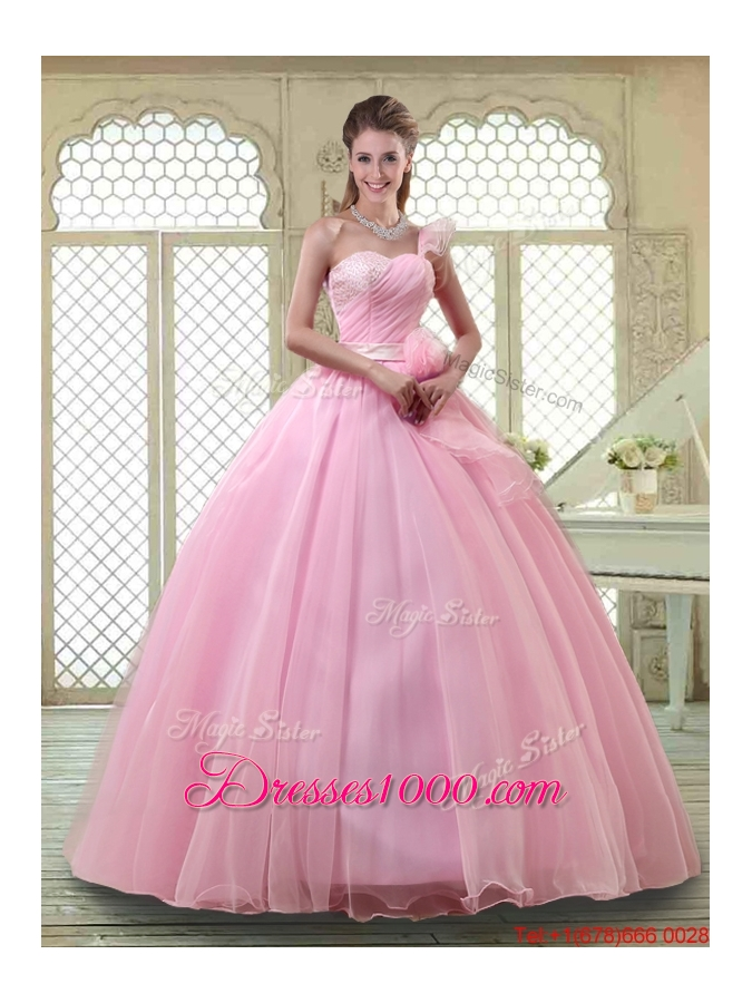 Lovely Rose Pink Quinceanera Dresses with One Shoulder