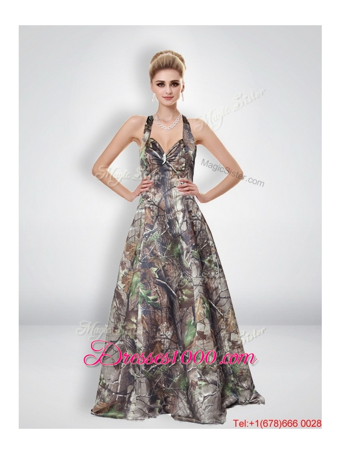 A Line Halter Top Multi Color Camo Prom Dresses with Brush Train