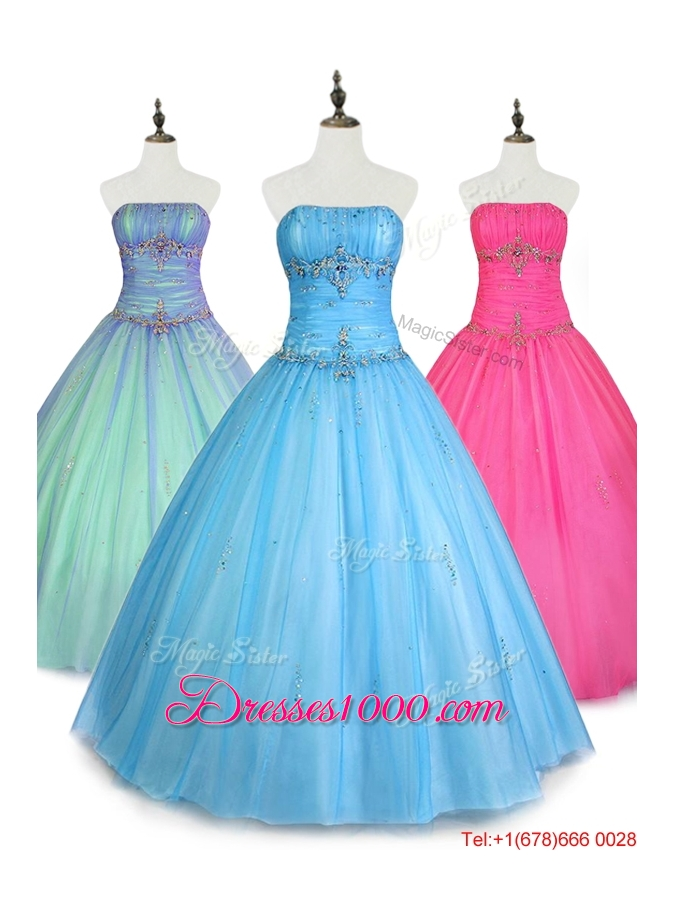 2016 In Stock Strapless Ball Gown Sweet 16 Dresses with Beading