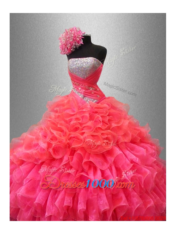 2016 Perfect Strapless Quinceanera Dresses with Sequins and Ruffles