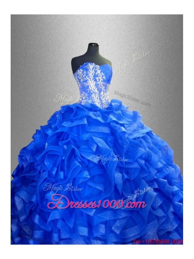 Beaded Sweetheart Luxurious Quinceanera Gowns with Ruffles