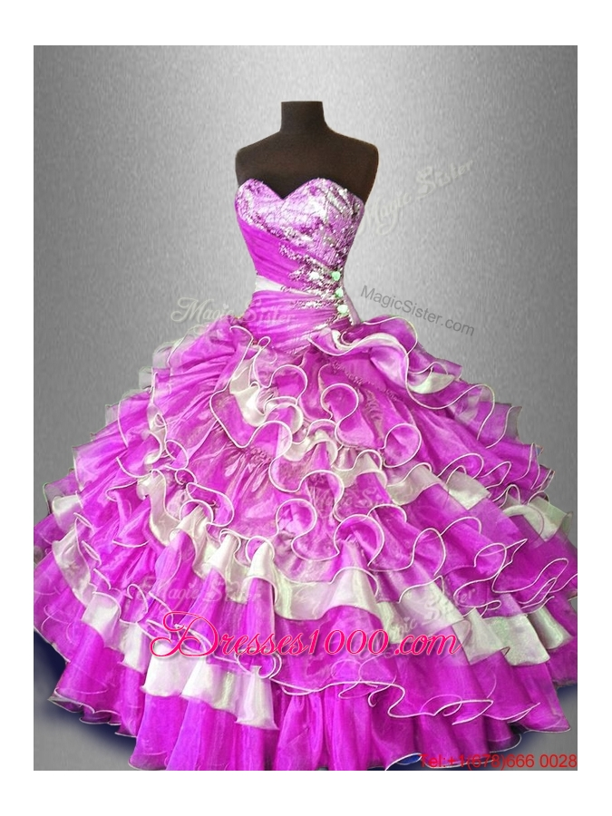 Discount Beaded and Ruffles Sweet 16 Gowns in Multi Color