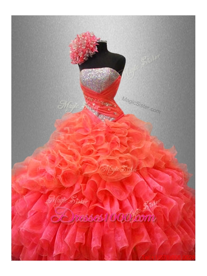 Organza Ruffles Fashionable Sweet 16 Dresses with Sequins