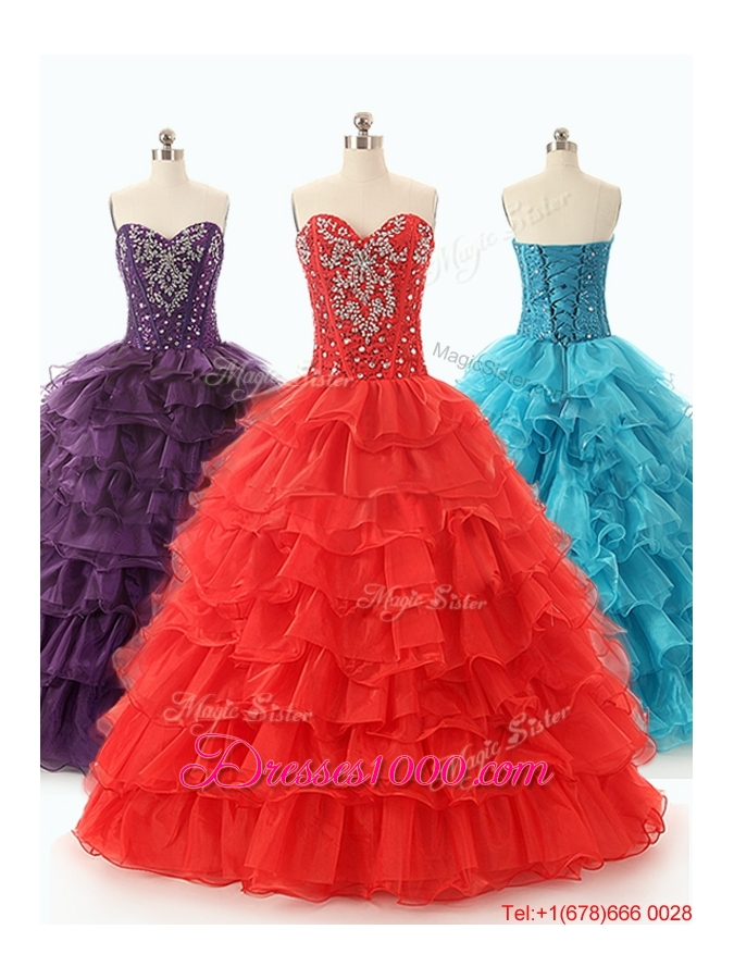 Popular Beaded and Ruffled Layers Quinceanera Dresses in Red