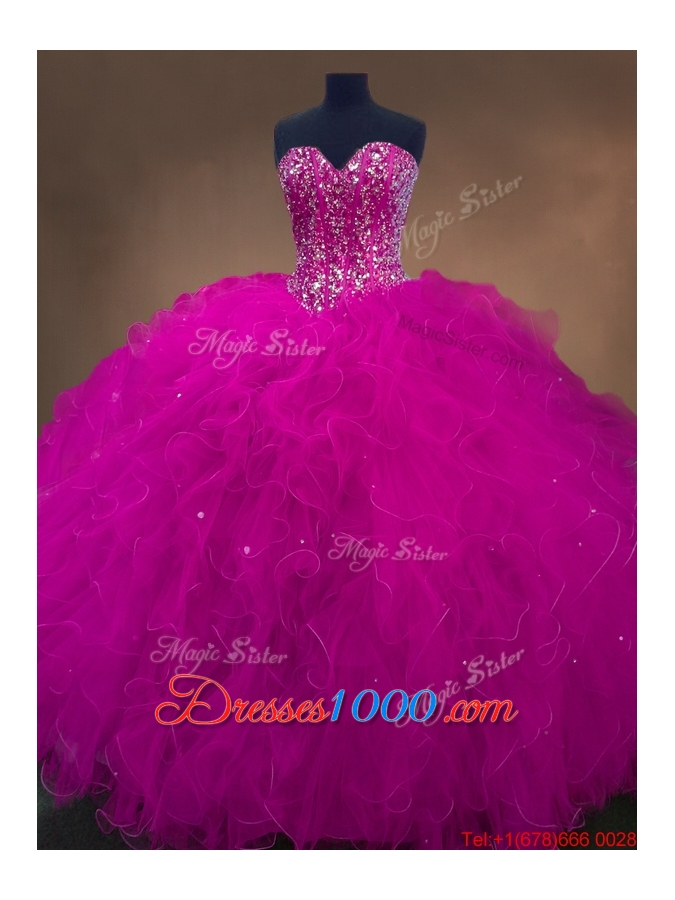 Popular Beaded Fuchsia Sweet 16 Dresses with Sweetheart