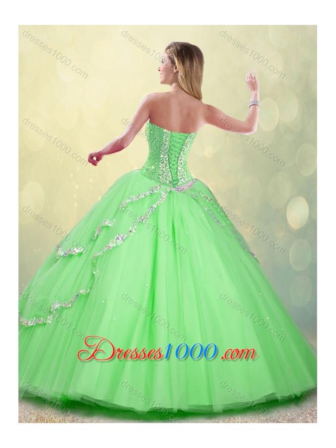 Fashionable Floor Length Beading Sweet 16 Dresses for 2016 Spring