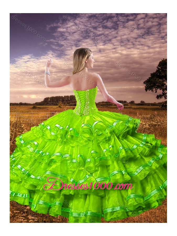 Hot Sale Spring Green Detachable Sweet 16 Dresses with Beading and Ruffled Layers