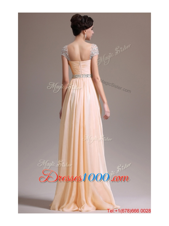 Suitable Empire Straps Beaded Prom Dresses with Cap Sleeves for 2016