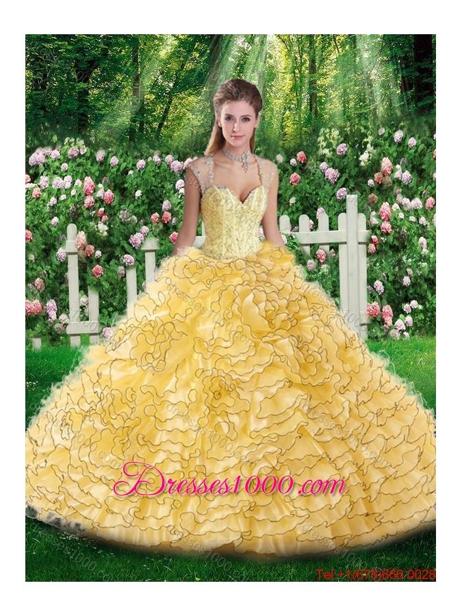 2016 Elegant Straps Beading Quinceanera Dresses for 16 Brithday Party