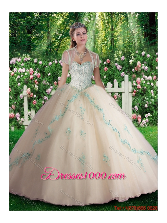 Elegant Champagne Quinceanera Dresses with Beading and Appliques