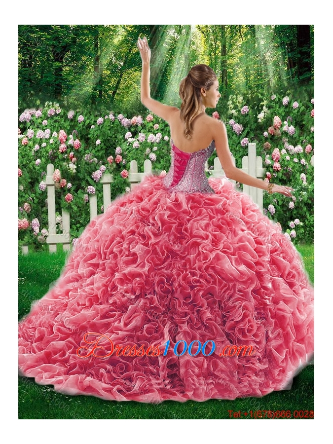 Luxurious Ball Gown Sweetheart Beading Quinceanera Dresses with Brush Train