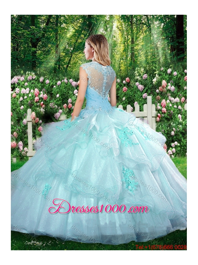 2016 Beautiful Straps Champagne Quinceanera Dresses with Beading and Appliques