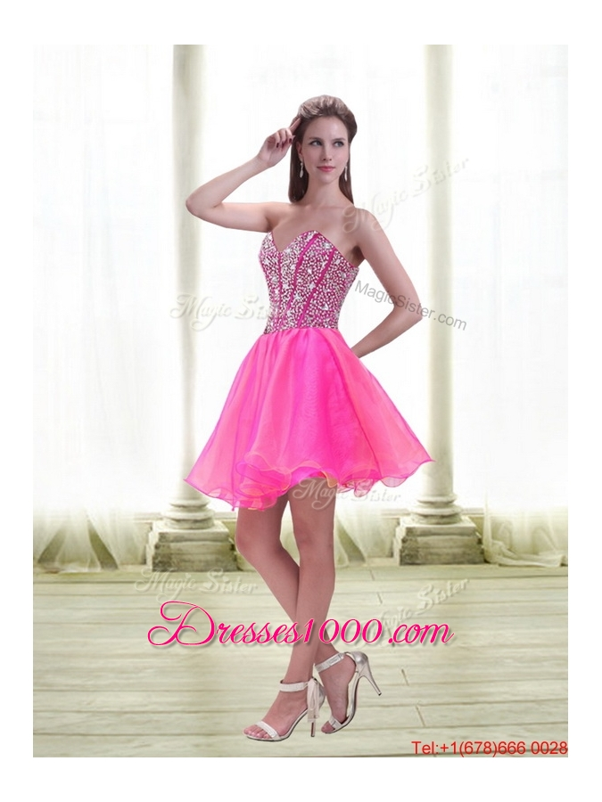 Detachable 2015 A Line Mini Length Hot Pink Prom Skirts with Beading