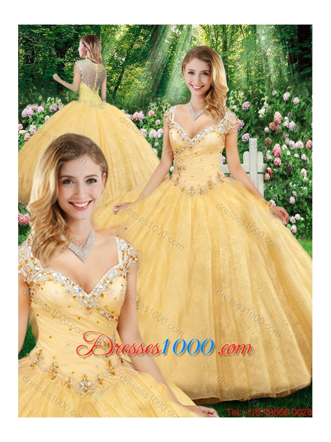 Latest Ball Gown Straps Sweet Sixteen Dresses with Beading