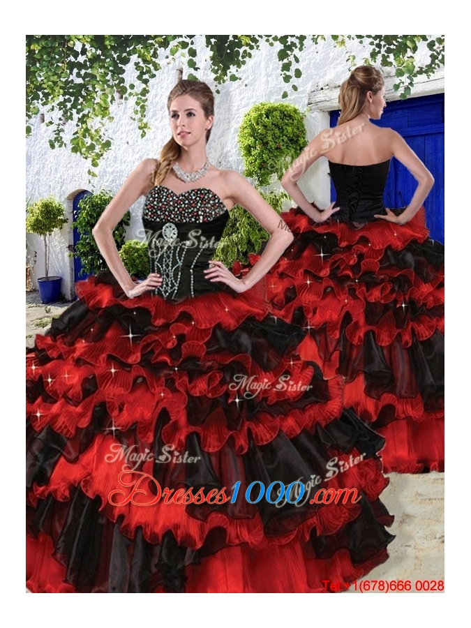 Luxurious 2016 Spring Beaded Multi Color Quinceanera Dresses with Ruffled Layers