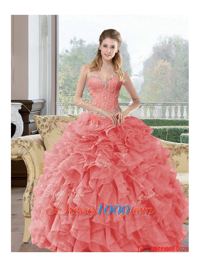 2015 Elegant Beading and Ruffles Quinceanera Dresses in Watermelon