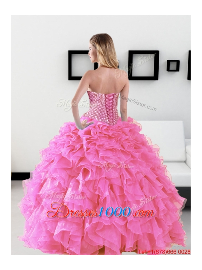 Classical Beading and Ruffles Sweetheart Quinceanera Dresses for 2015