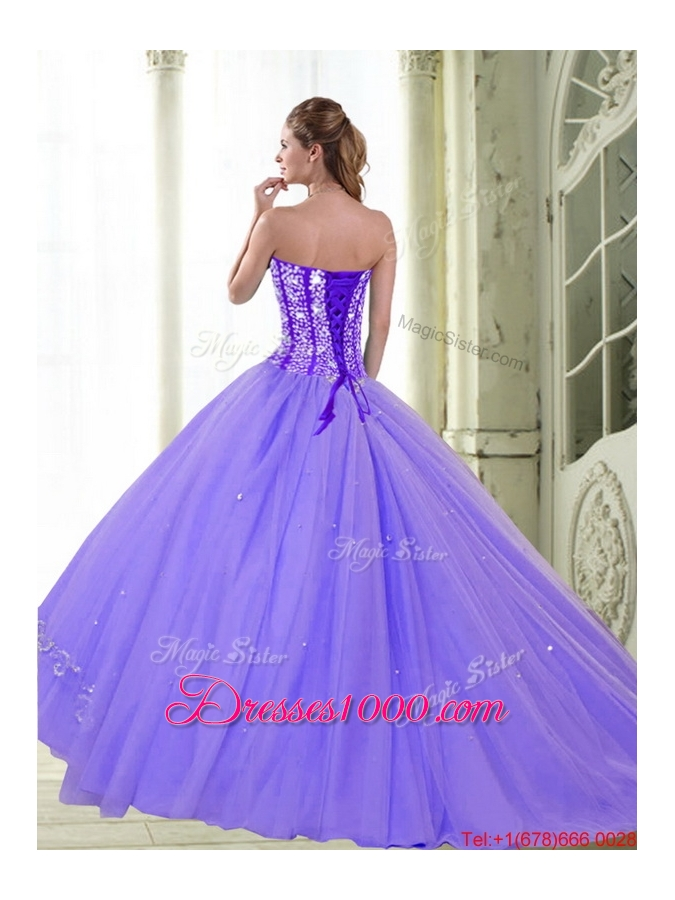 Designer Sweetheart 2015 Lilac Quinceanera Dresses with Beading