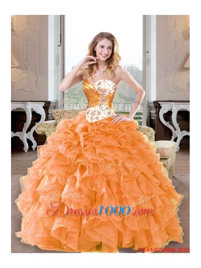 Fashionable Beading and Ruffles Sweetheart Sweet Fifteen Dresses for 2015
