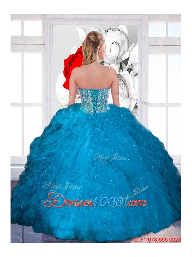 Fashionable Beading and Ruffles Sweetheart Teal Quinceanera Dresses for 2015