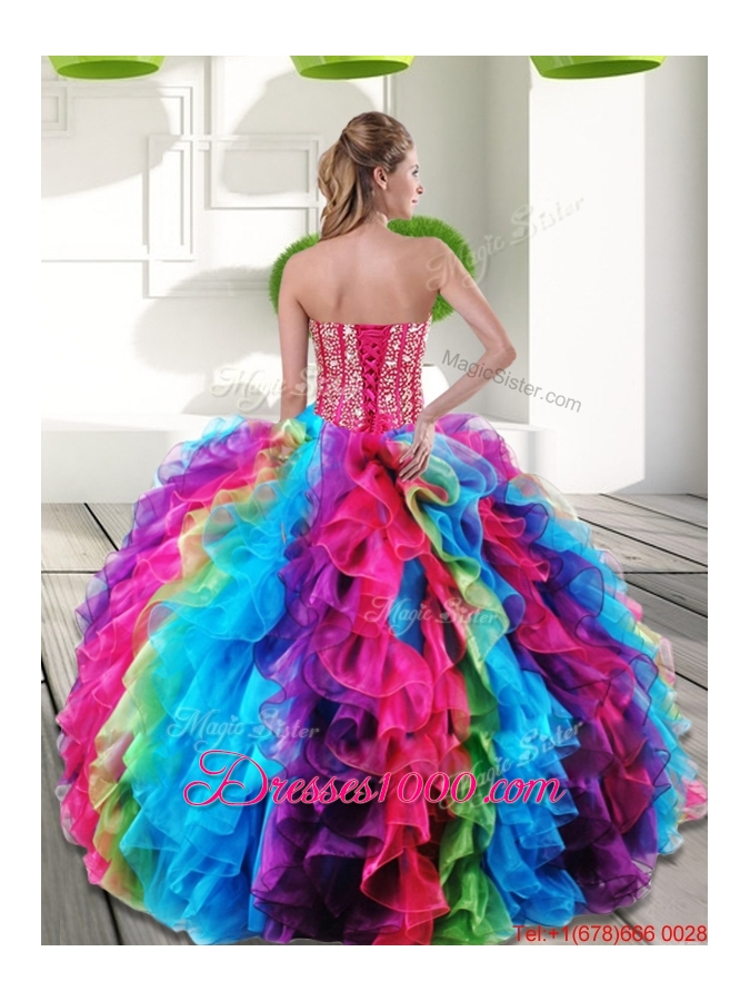 Fashionable Multi Color Sweetheart Beading and Ruffles 2015 Quinceanera Dresses