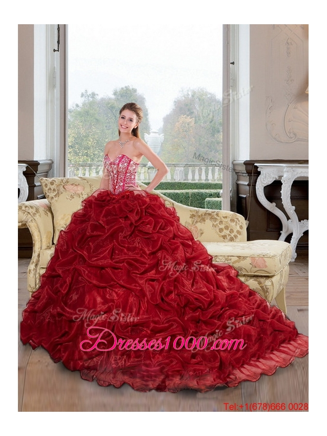 Fashionable Sweetheart Beading and Pick Ups 2015 Quinceanera Dresses in Wine Red