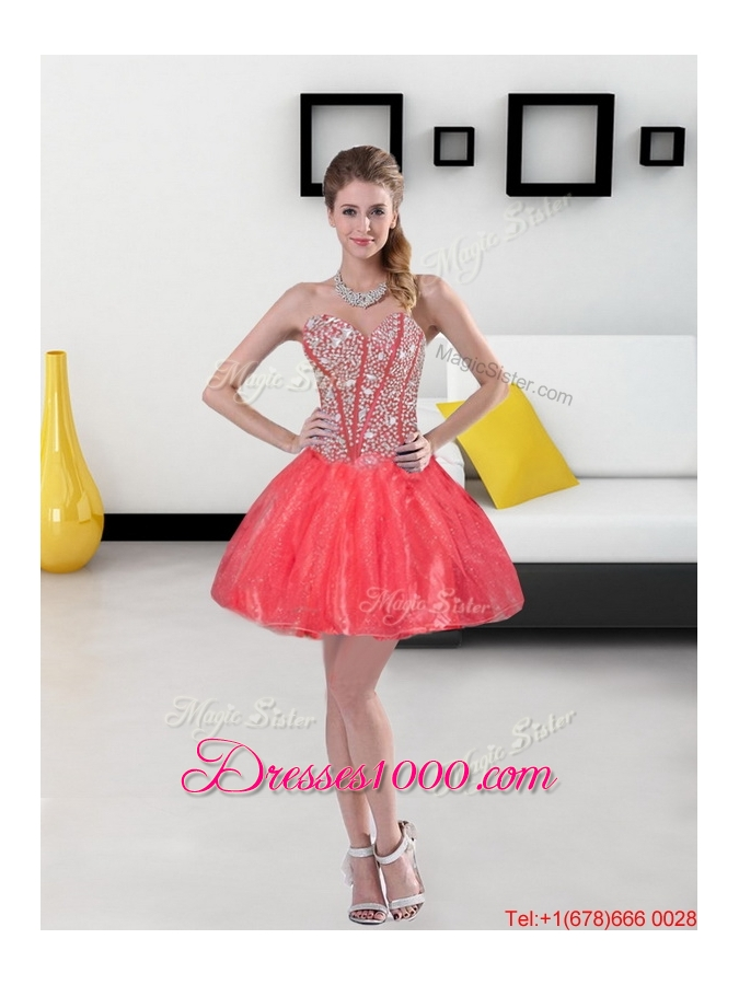 Flirting Beading and Ruffled Layers Sweetheart Coral Red Quinceanera Dresses for 2015