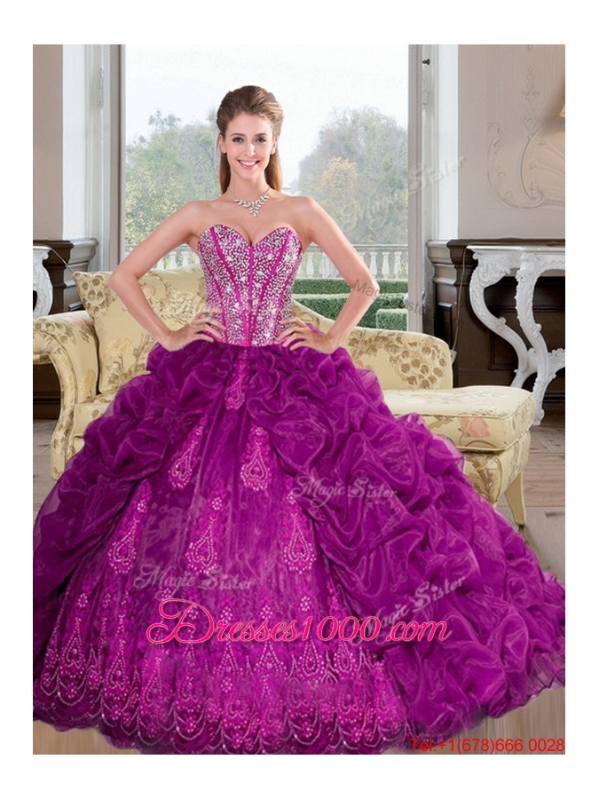 Most Popular Sweetheart 2015 Quinceanera Dresses with Beading and Pick Ups