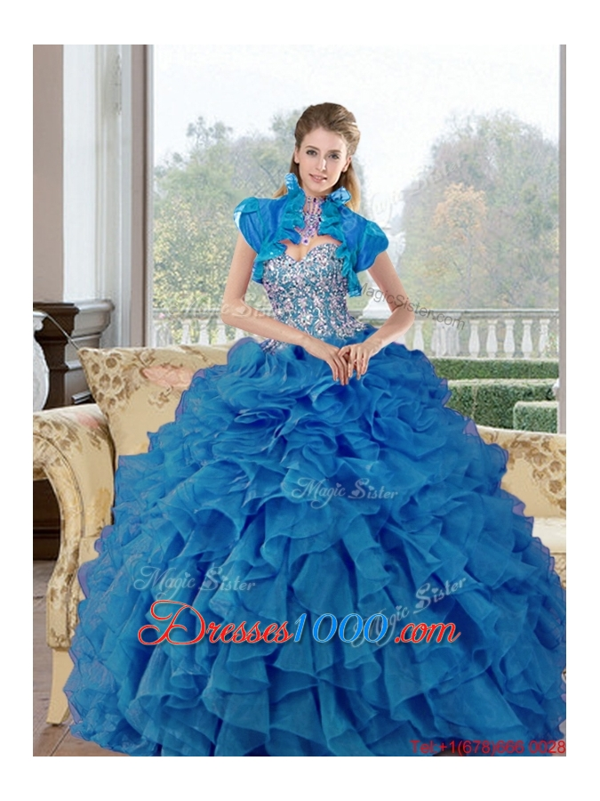 Remarkable Beading and Ruffles Sweetheart Quinceanera Gown for 2015