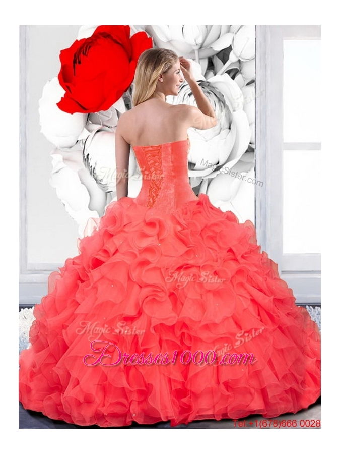 2015 Designer Beading and Ruffles Sweetheart Quinceanera Gown in Teal