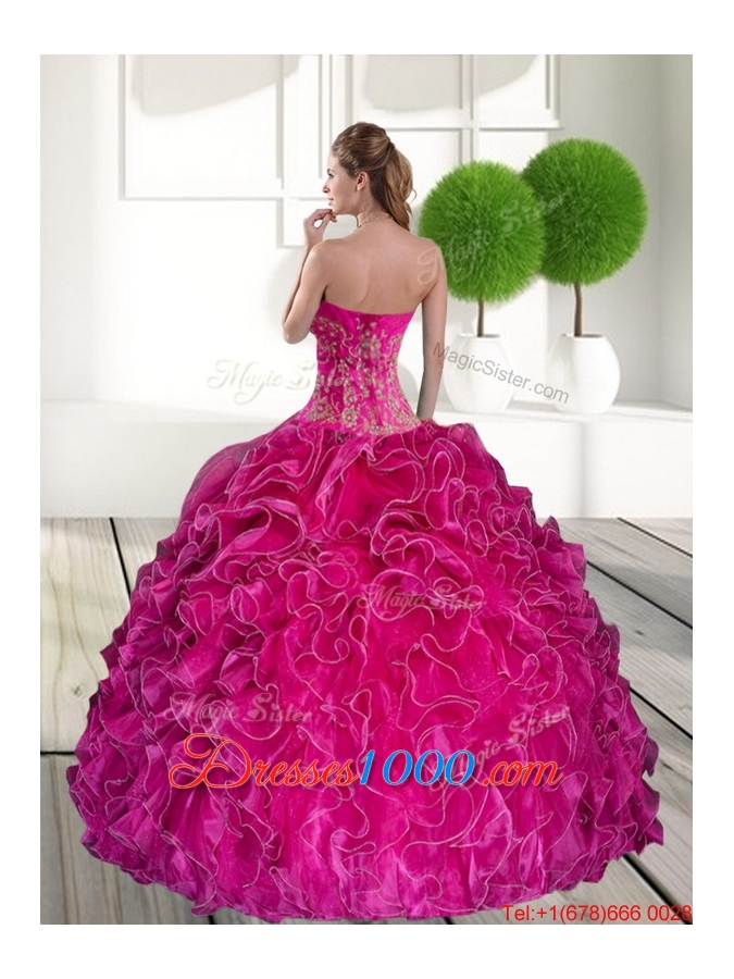 2015 Elegant Hot Pink Quinceanera Gown with Ruffles and Appliques