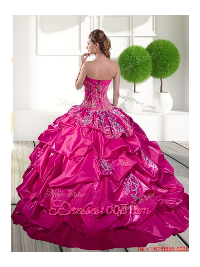2015 Fashionable Appliques and Pick Ups Quinceanera Dress in Hot Pink