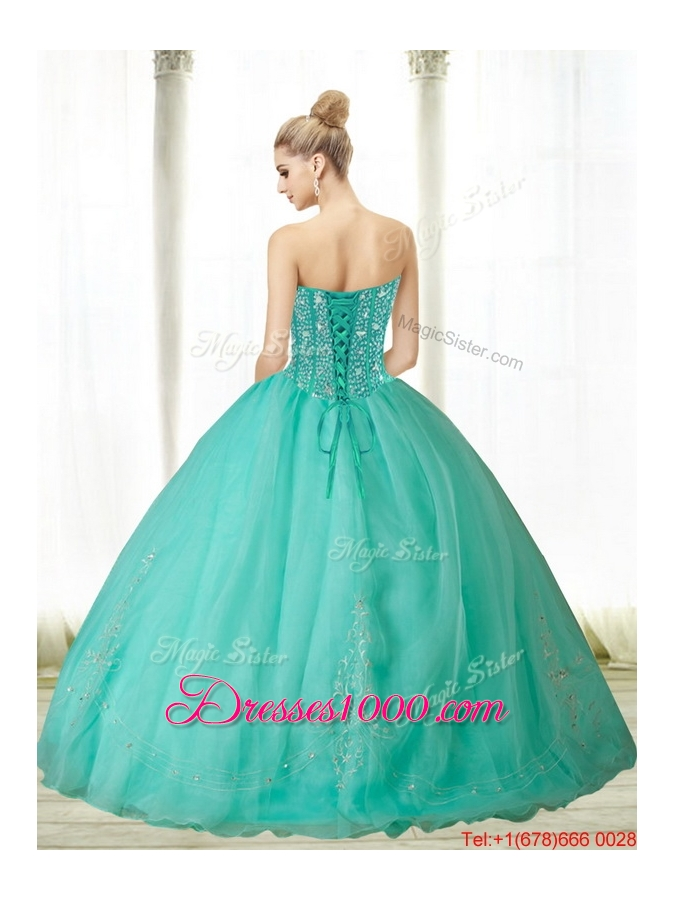 2015 Fashionable Beading and Appliques Turquoise Sweetheart Quinceanera Dresses