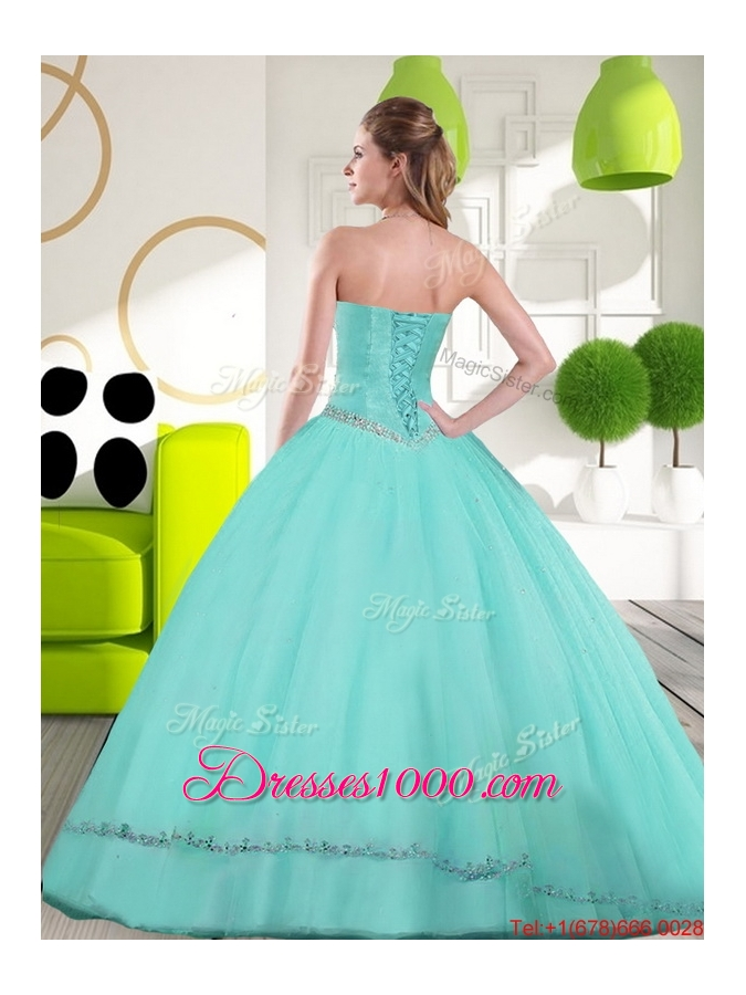 2015 Most Popular Sweetheart Ball Gown Quinceanera Gown with Appliques