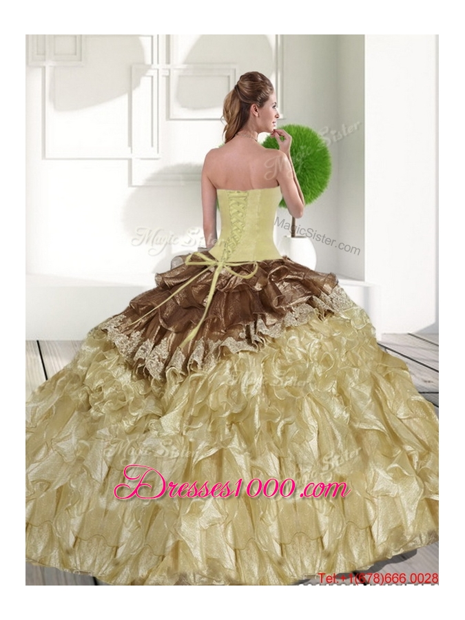 2015 Most Popular Sweetheart Quinceanera Gowns with Beading and Ruffles