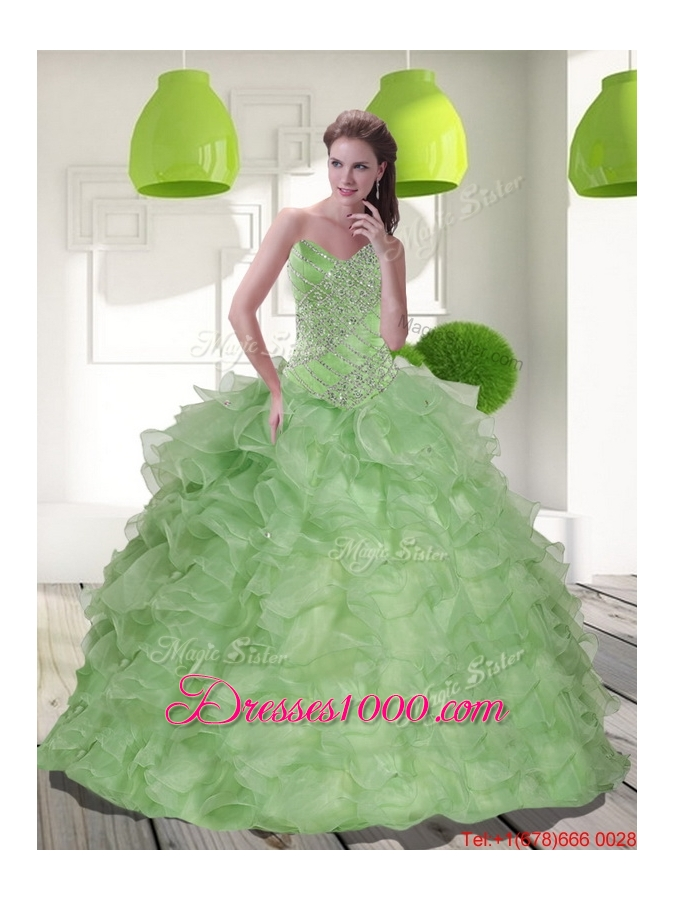 2016 Most Popular Sweetheart Quinceanera Dress with Beading and Ruffles