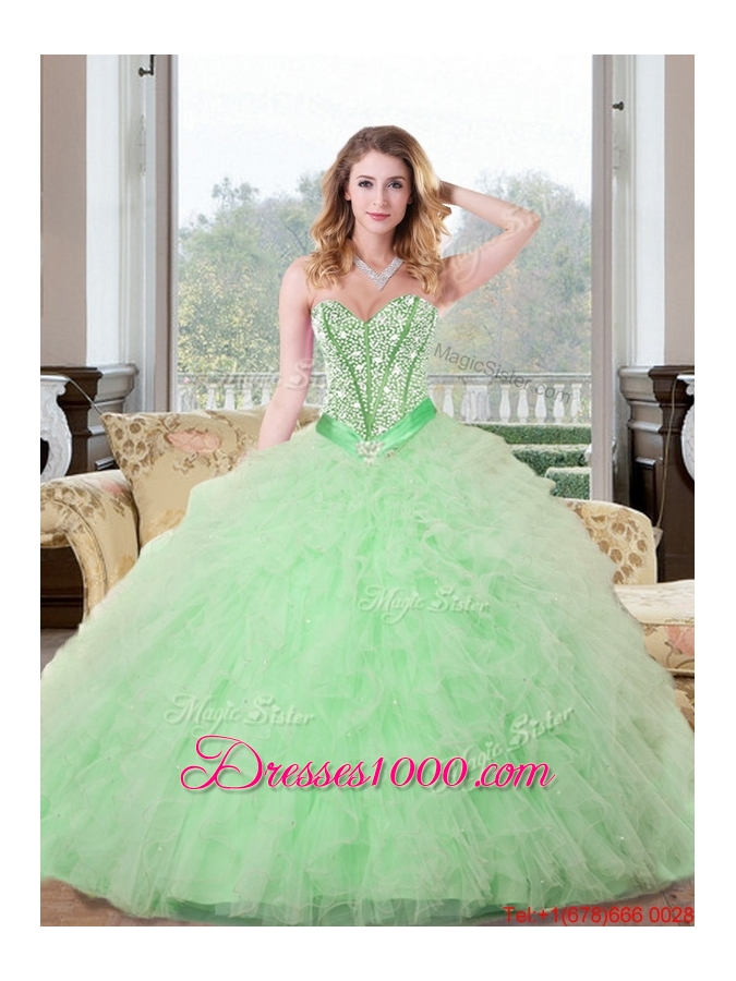 Designer Beading and Ruffles Sweetheart 2015 Quinceanera Dresses in Apple Green