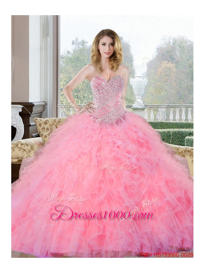 Designer Beading and Ruffles Sweetheart Quinceanera Gown for 2015