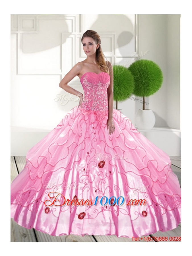 Designer Sweetheart 2015 Quinceanera Dresses with Appliques and Ruffled Layers