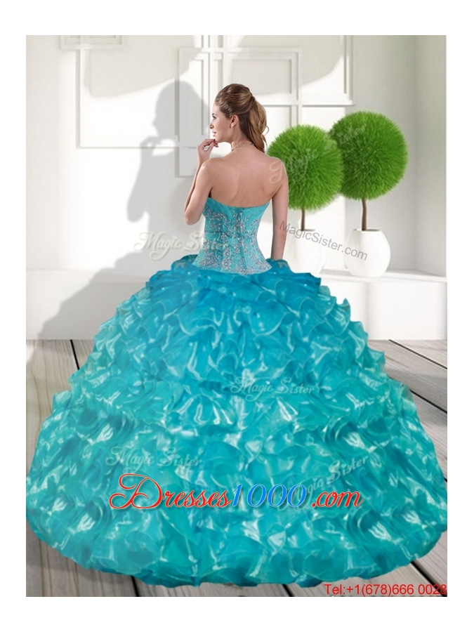 Fashionable Sweetheart Teal Sweet 15 Dresses with Appliques and Ruffled Layers