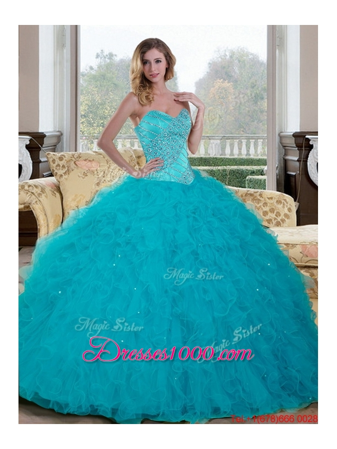 Luxurious Beading and Ruffles Sweetheart 2015 Sweet Fifteen Dresses in Teal
